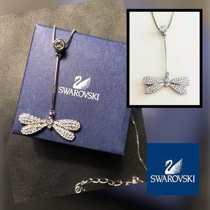 🆕 SWAROVSKI Silver and Crystal Dragonfly Necklace
